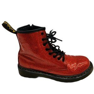 Dr Martens Youth Glitter 1460 Zip Red Slip Boots